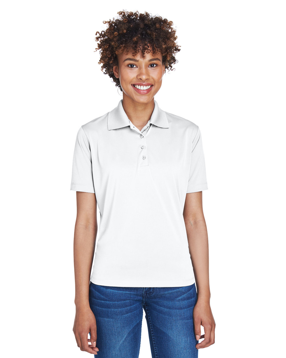 UltraClub Ladies' Cool & Dry 8-Star Elite Performance Interlock Polo WHITE