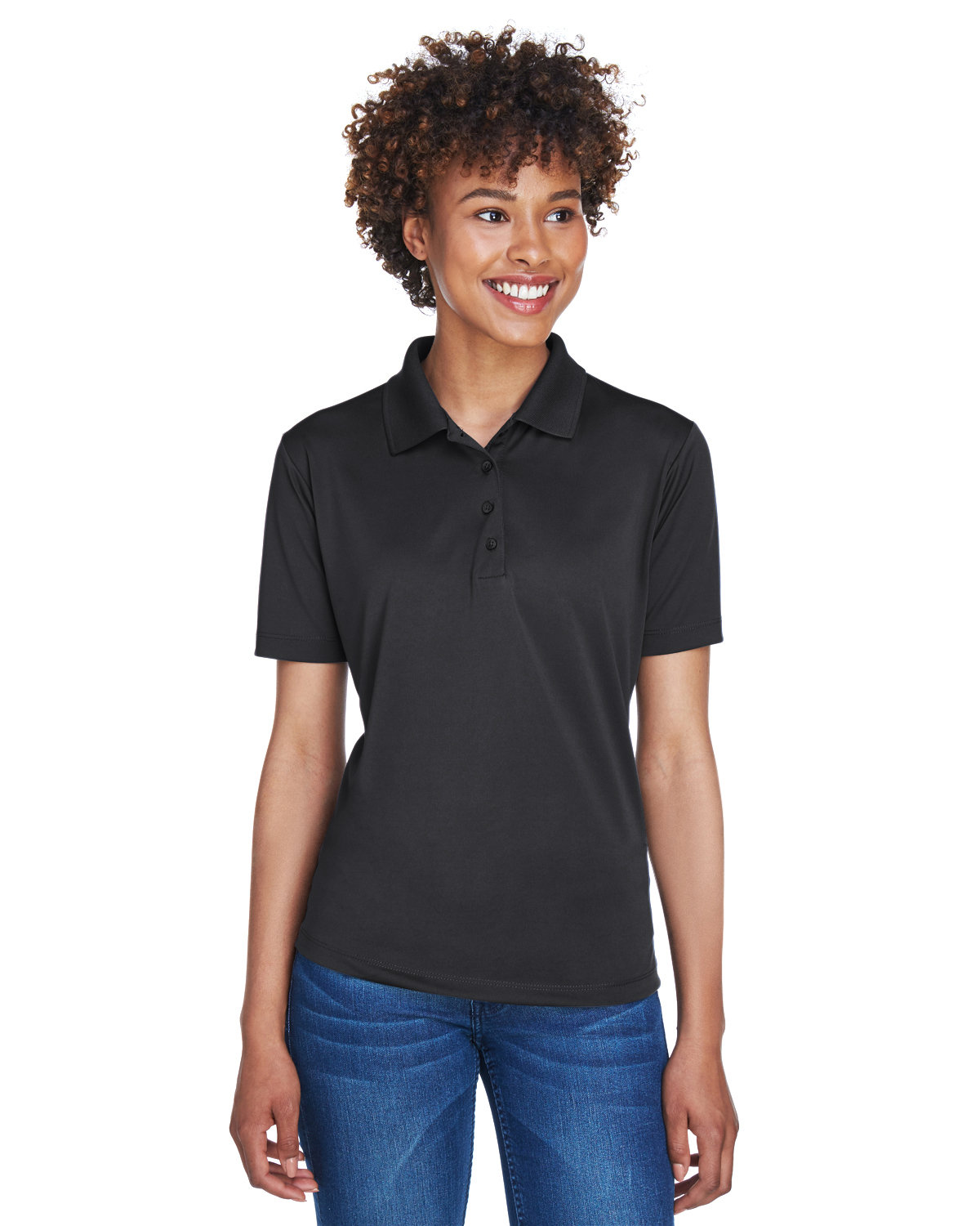 UltraClub Ladies' Cool & Dry 8-Star Elite Performance Interlock Polo BLACK