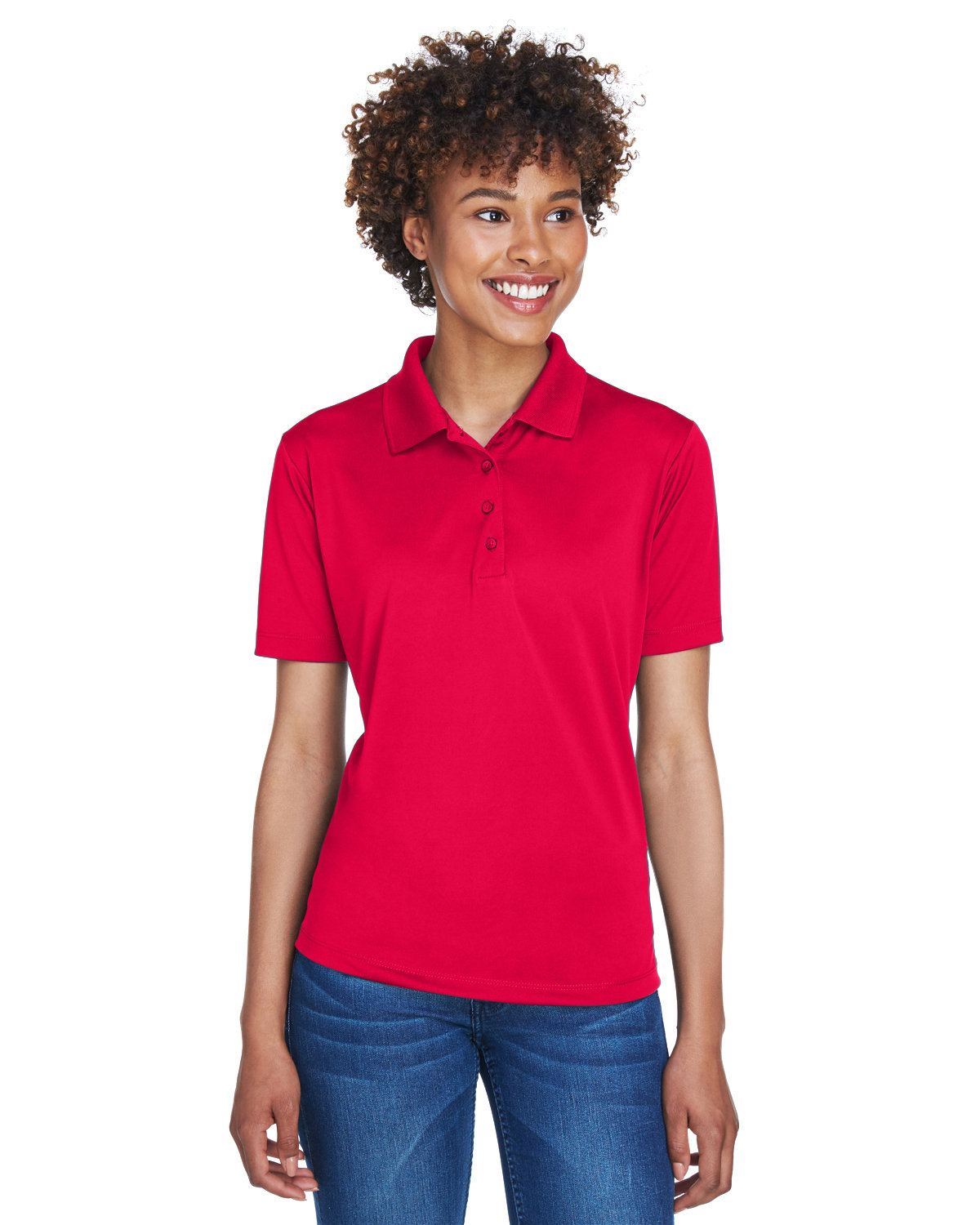 UltraClub Ladies' Cool & Dry 8-Star Elite Performance Interlock Polo RED