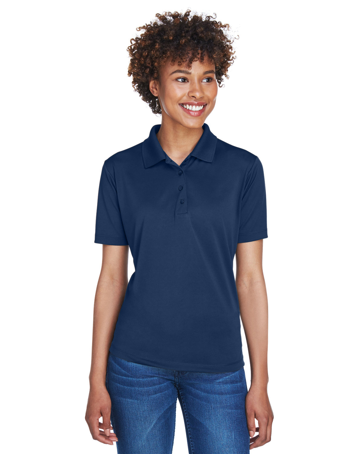 UltraClub Ladies' Cool & Dry 8-Star Elite Performance Interlock Polo NAVY