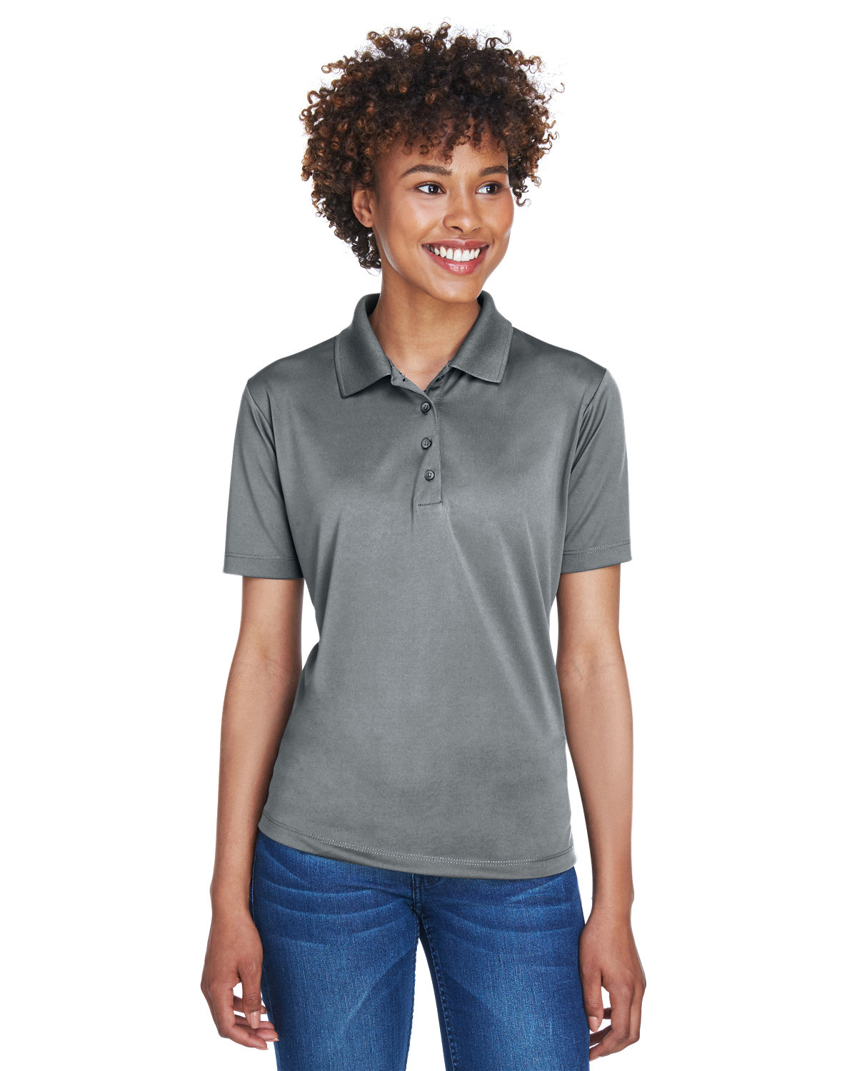 UltraClub Ladies' Cool & Dry 8-Star Elite Performance Interlock Polo CHARCOAL
