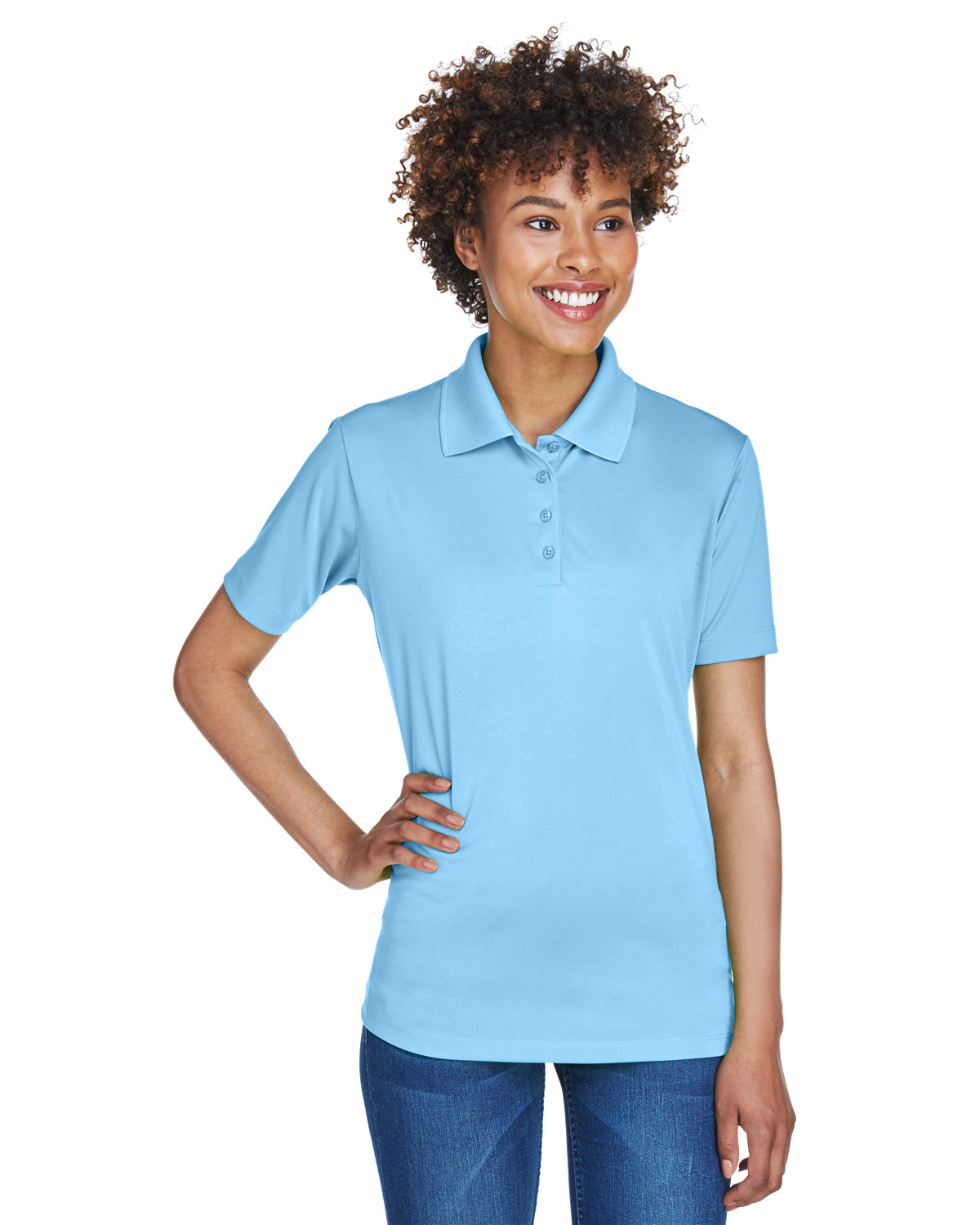 UltraClub Ladies' Cool & Dry 8-Star Elite Performance Interlock Polo COLUMBIA BLUE