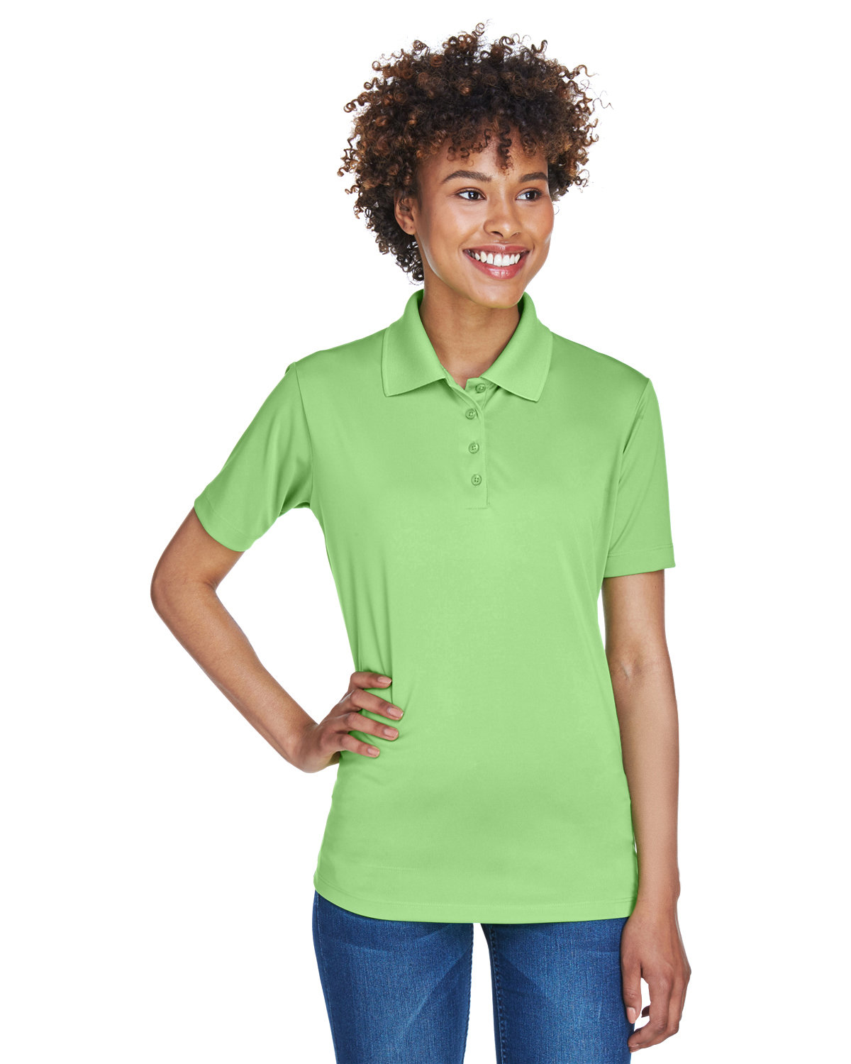 UltraClub Ladies' Cool & Dry 8-Star Elite Performance Interlock Polo LIGHT GREEN