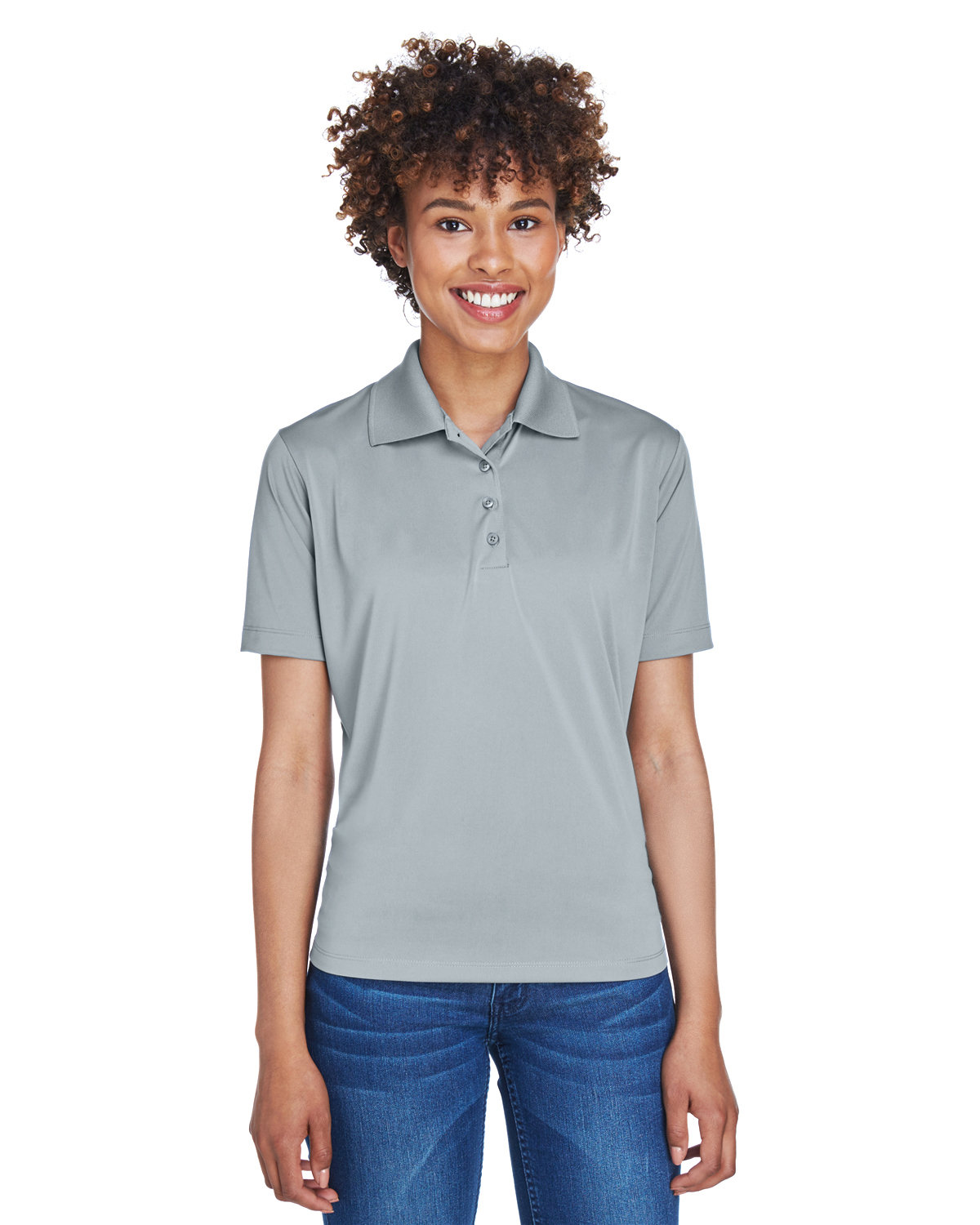 UltraClub Ladies' Cool & Dry 8-Star Elite Performance Interlock Polo SILVER