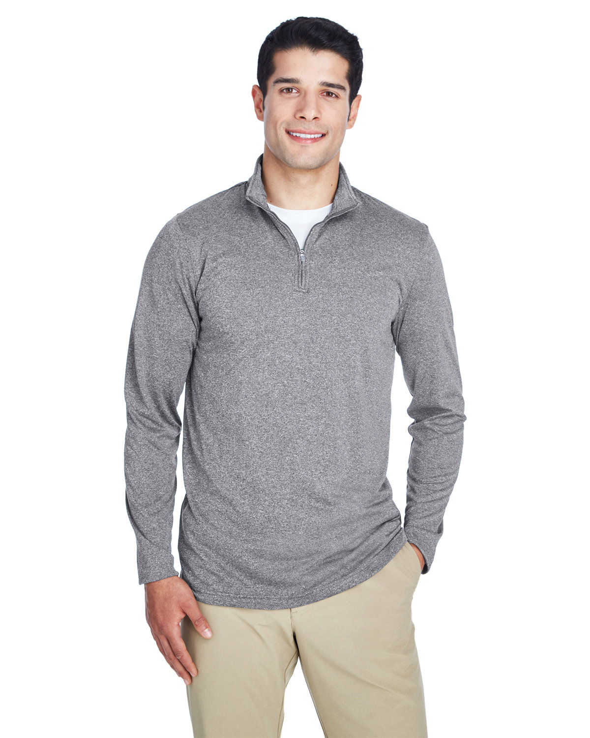 UltraClub Men's Cool & Dry Heathered Performance Quarter-Zip CHARCOAL HEATHER