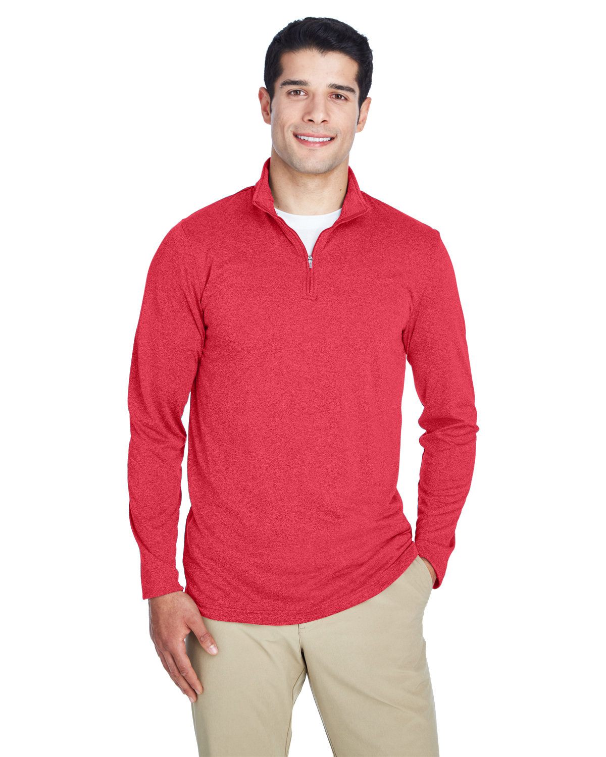 UltraClub Men's Cool & Dry Heathered Performance Quarter-Zip RED HEATHER