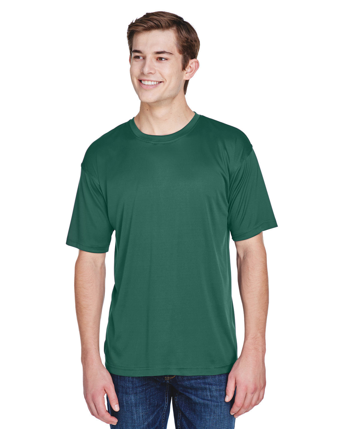 UltraClub Men's Cool & Dry Basic Performance T-Shirt FOREST GREEN