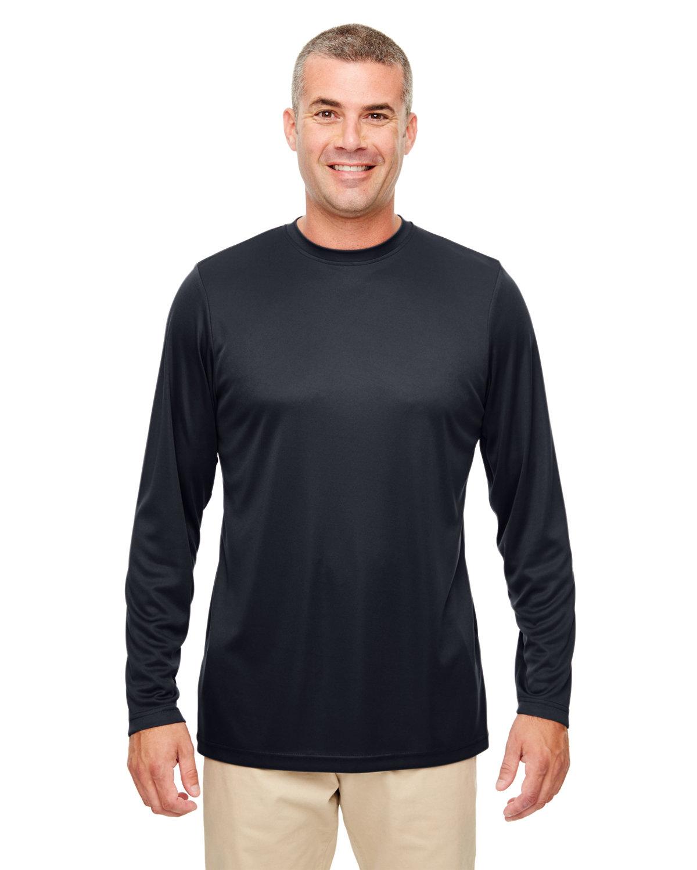 UltraClub Men's Cool & Dry Performance Long-Sleeve Top BLACK