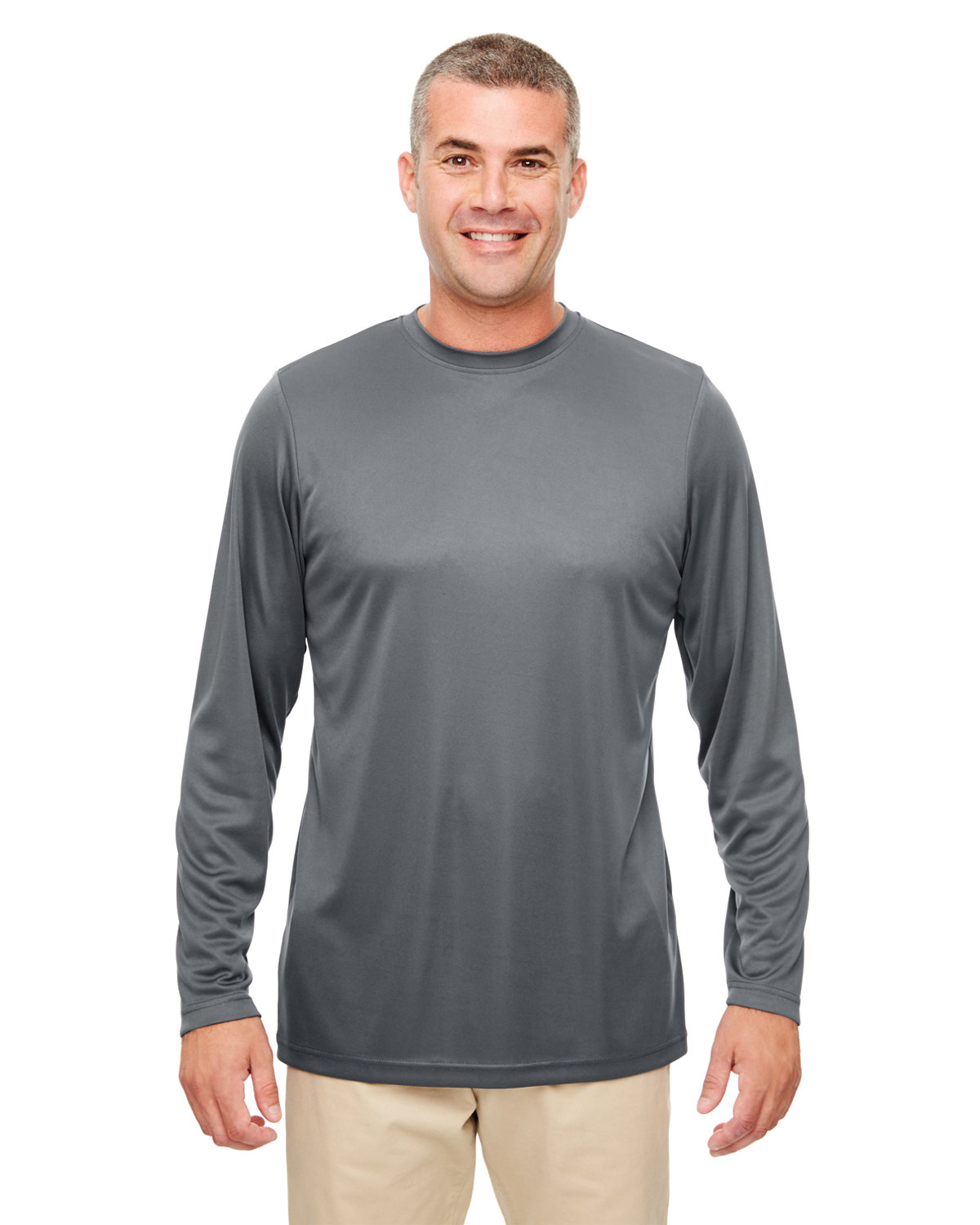 UltraClub Men's Cool & Dry Performance Long-Sleeve Top CHARCOAL