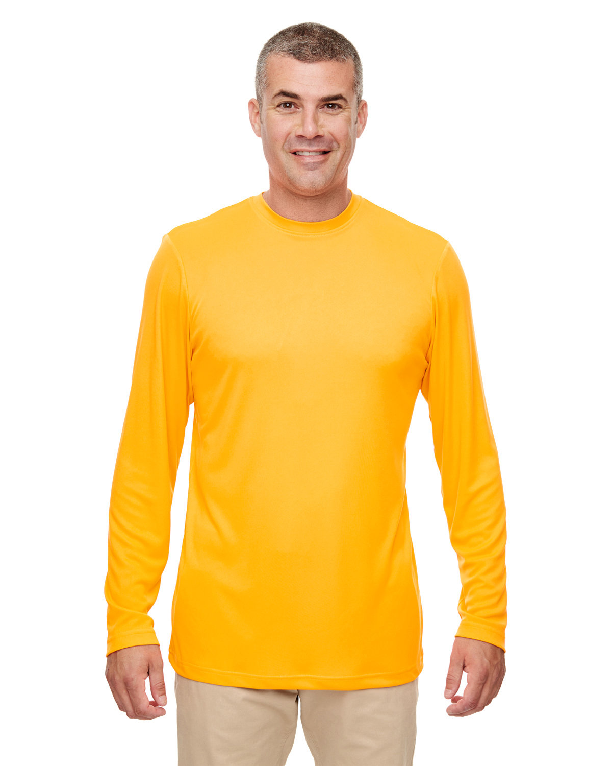 UltraClub Men's Cool & Dry Performance Long-Sleeve Top GOLD