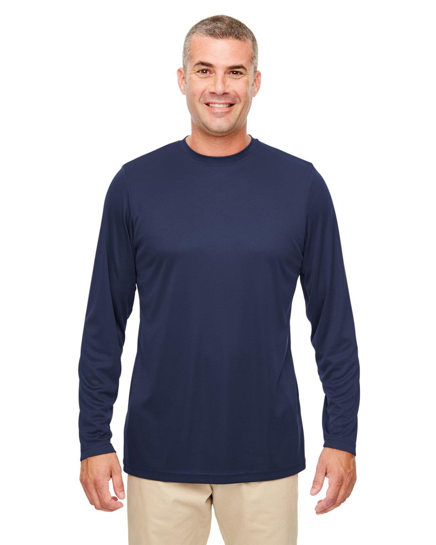 UltraClub Men's Cool & Dry Performance Long-Sleeve Top NAVY