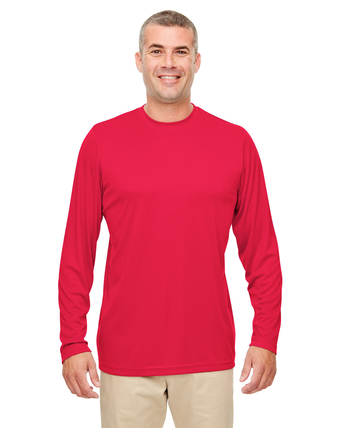 UltraClub Men's Cool & Dry Performance Long-Sleeve Top RED