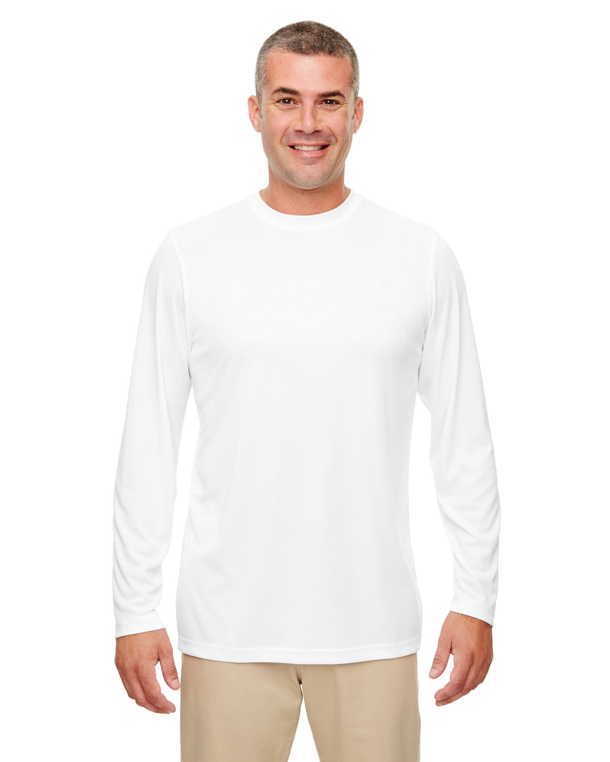 UltraClub Men's Cool & Dry Performance Long-Sleeve Top WHITE