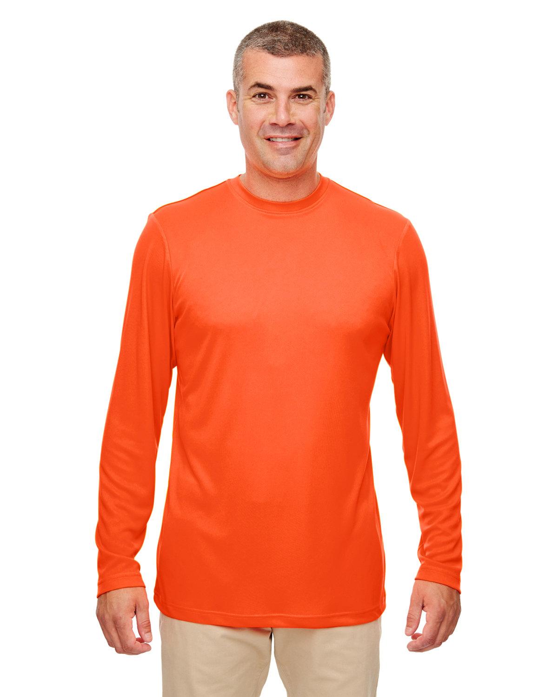 UltraClub Men's Cool & Dry Performance Long-Sleeve Top BRIGHT ORANGE