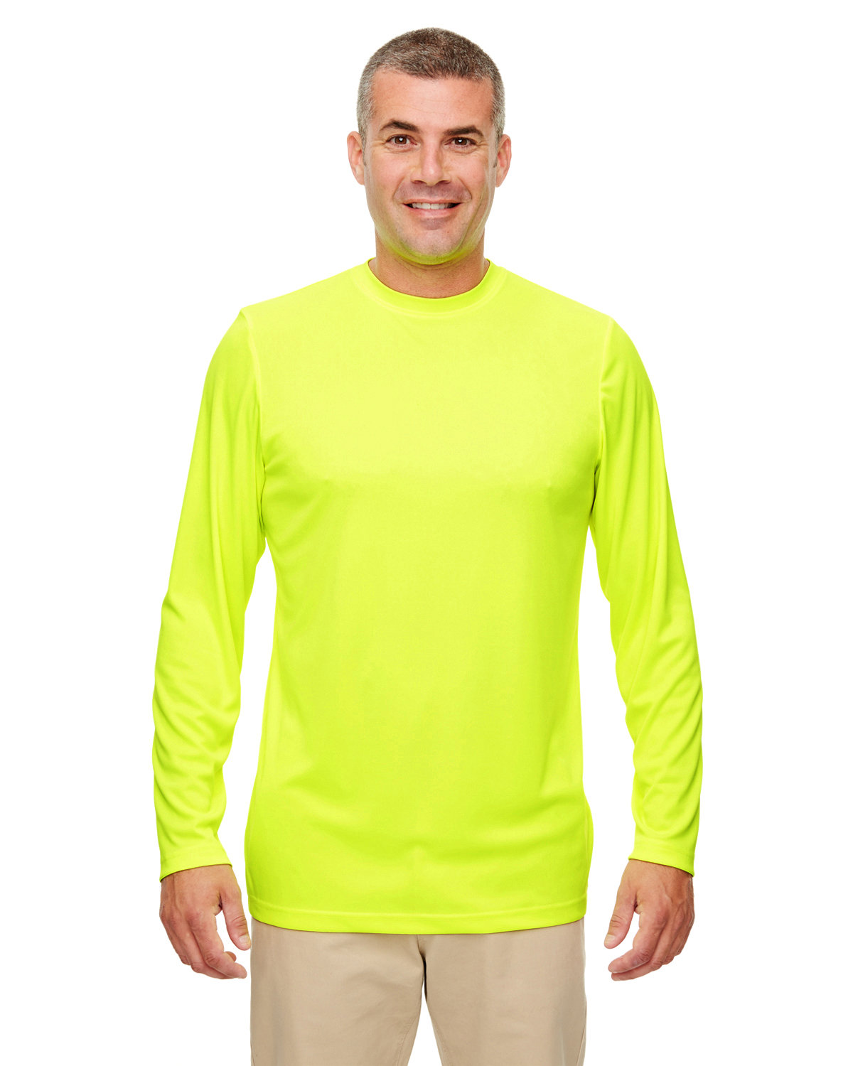 UltraClub Men's Cool & Dry Performance Long-Sleeve Top BRIGHT YELLOW