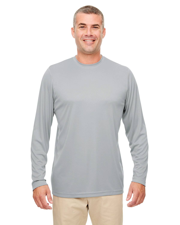 UltraClub Men's Cool & Dry Performance Long-Sleeve Top GREY