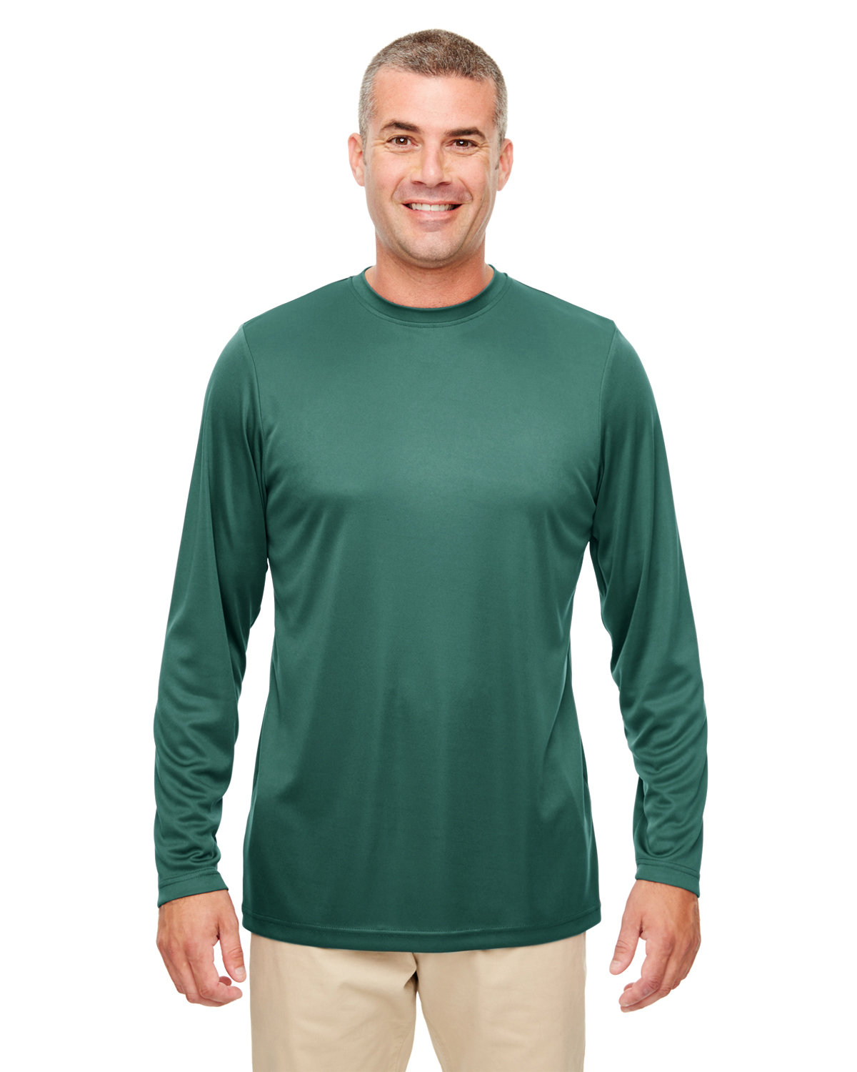 UltraClub Men's Cool & Dry Performance Long-Sleeve Top FOREST GREEN
