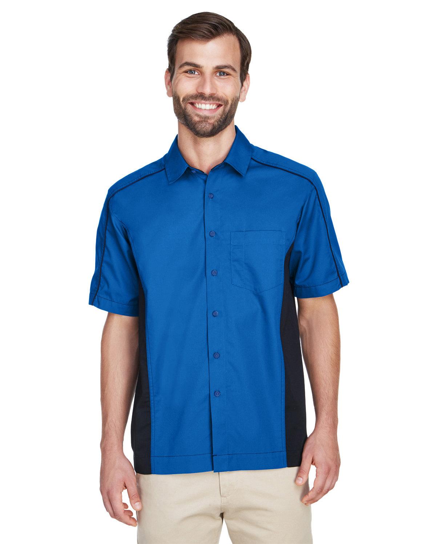 North End Men's Fuse Colorblock Twill Shirt TRUE ROYAL/ BLK