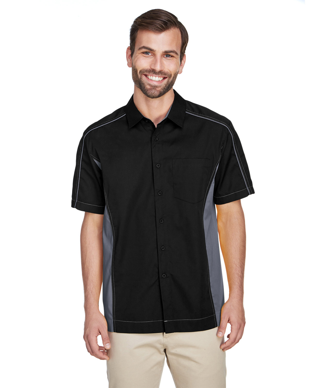 North End Men's Fuse Colorblock Twill Shirt BLACK/ CARBON