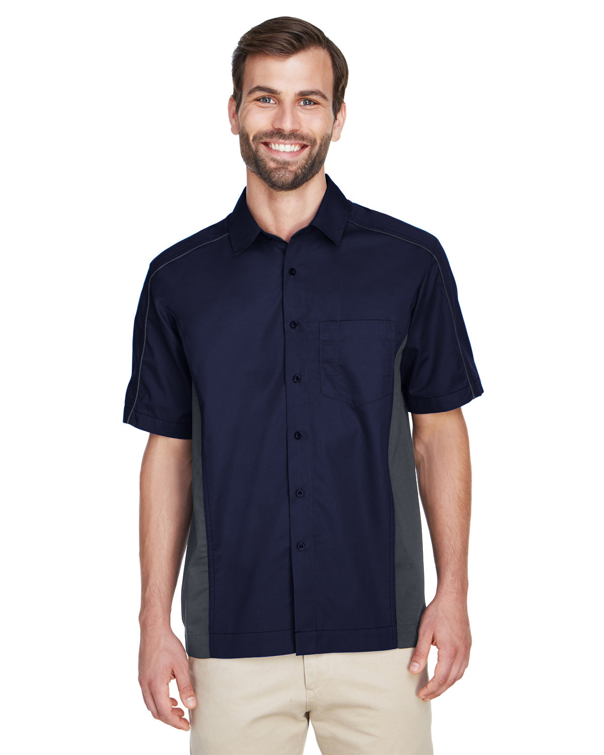 North End Men's Fuse Colorblock Twill Shirt CLASC NAVY/ CRBN