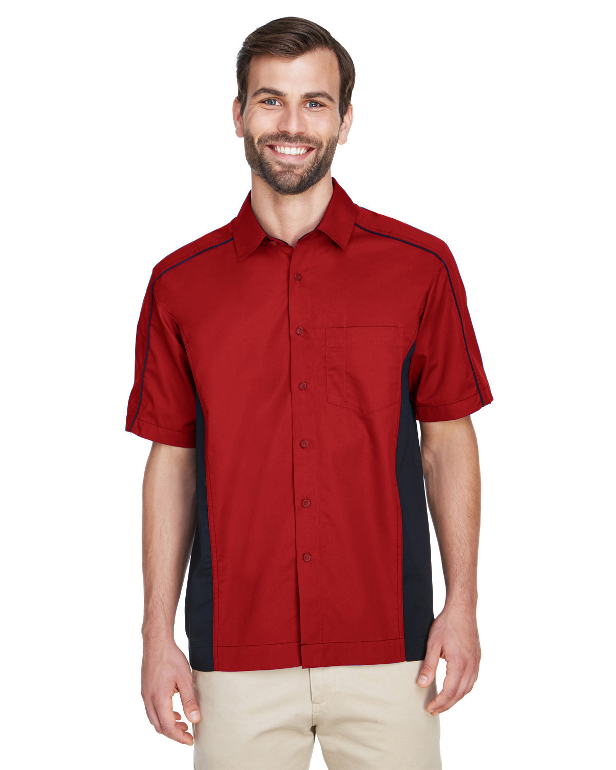 North End Men's Fuse Colorblock Twill Shirt CLASSIC RED/ BLK