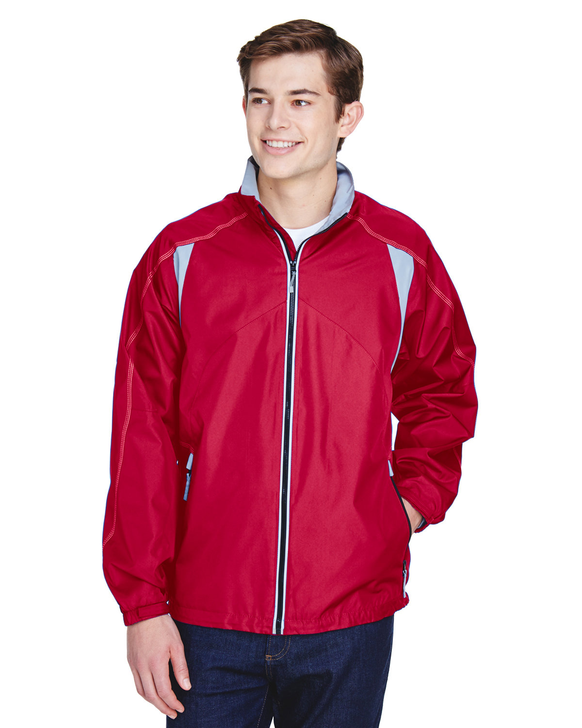North End Men's EnduranceLightweight Colorblock Jacket OLYMPIC RED