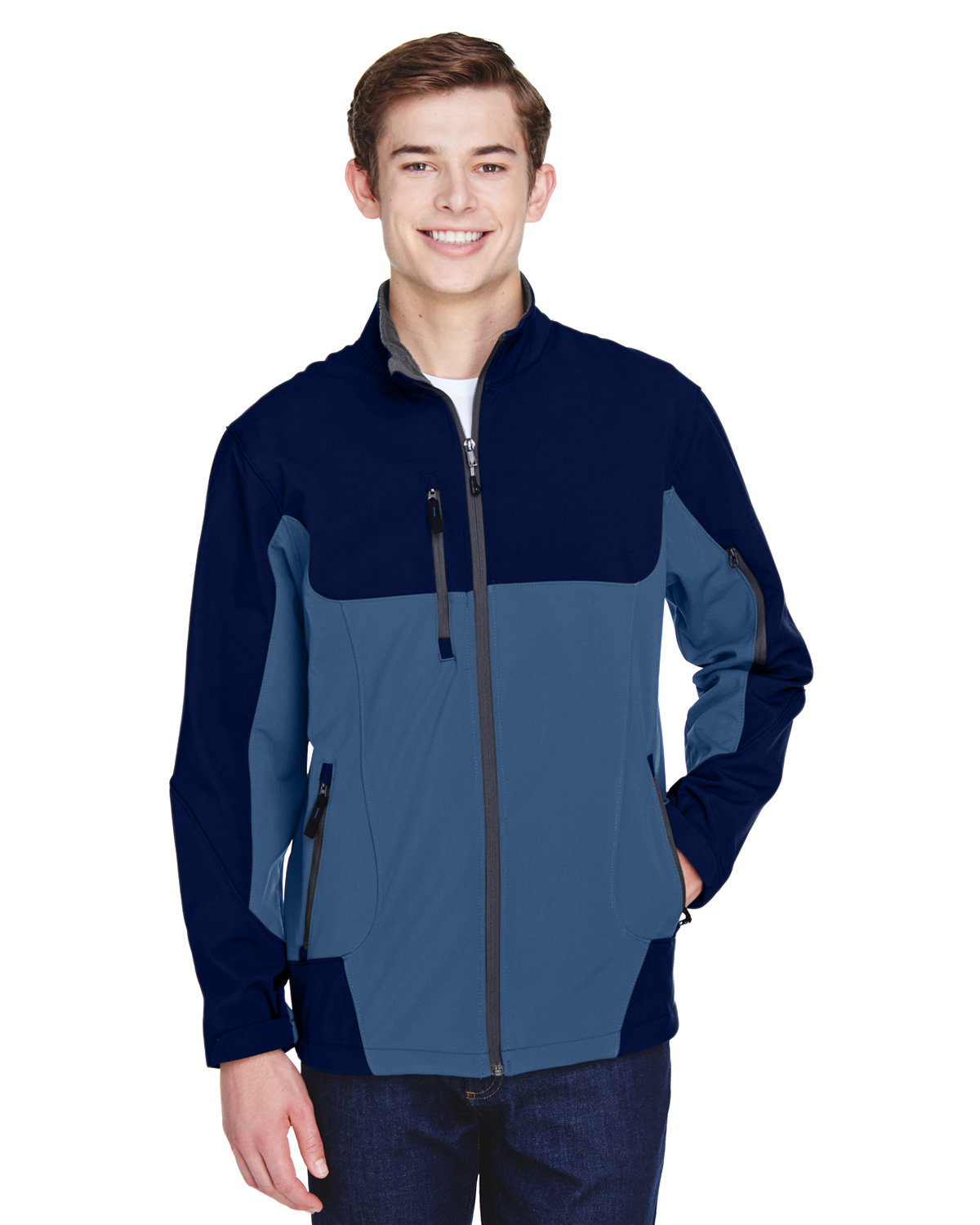 North End Men's Compass Colorblock Three-Layer Fleece Bonded Soft Shell Jacket BLUE RIDGE