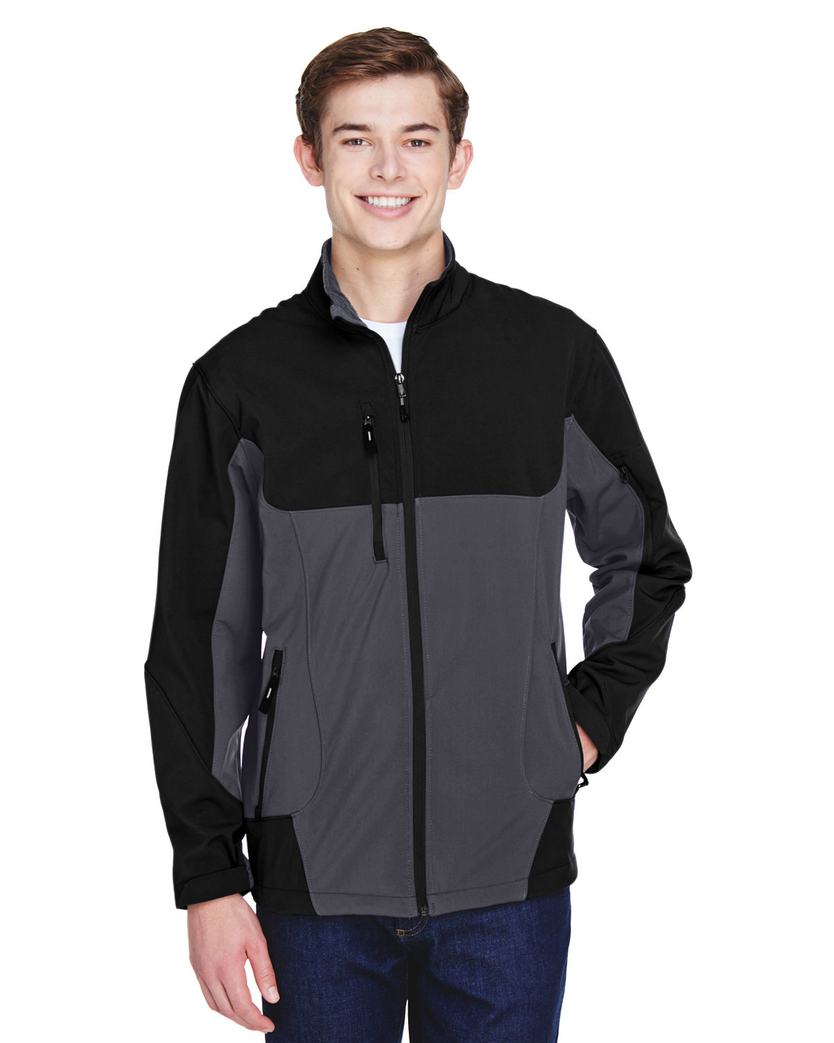 North End Men's Compass Colorblock Three-Layer Fleece Bonded Soft Shell Jacket FOSSIL GREY