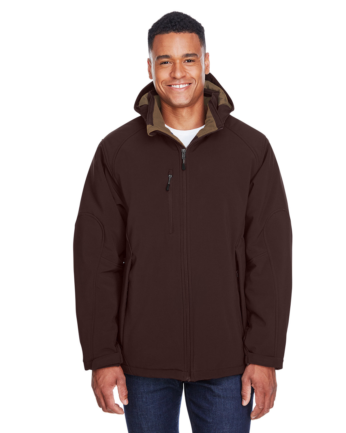 North End Men's Glacier Insulated Three-Layer Fleece Bonded Soft Shell Jacket with Detachable Hood DARK CHOCOLATE