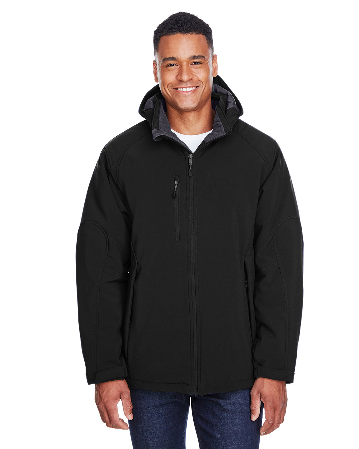 North End Men's Glacier Insulated Three-Layer Fleece Bonded Soft Shell Jacket with Detachable Hood BLACK