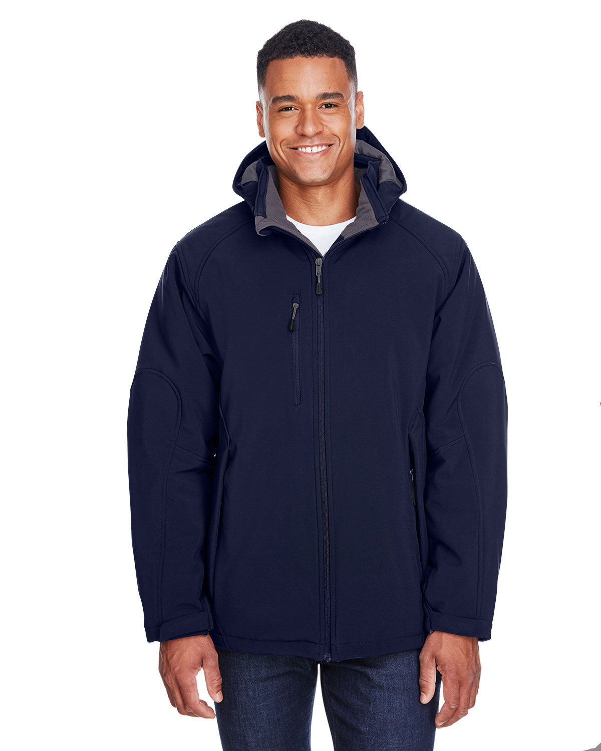 North End Men's Glacier Insulated Three-Layer Fleece Bonded Soft Shell Jacket with Detachable Hood CLASSIC NAVY