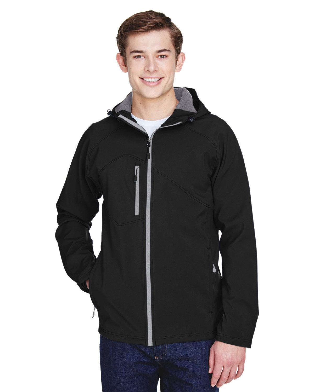 North End Men's Prospect Two-Layer Fleece Bonded Soft Shell Hooded Jacket BLACK