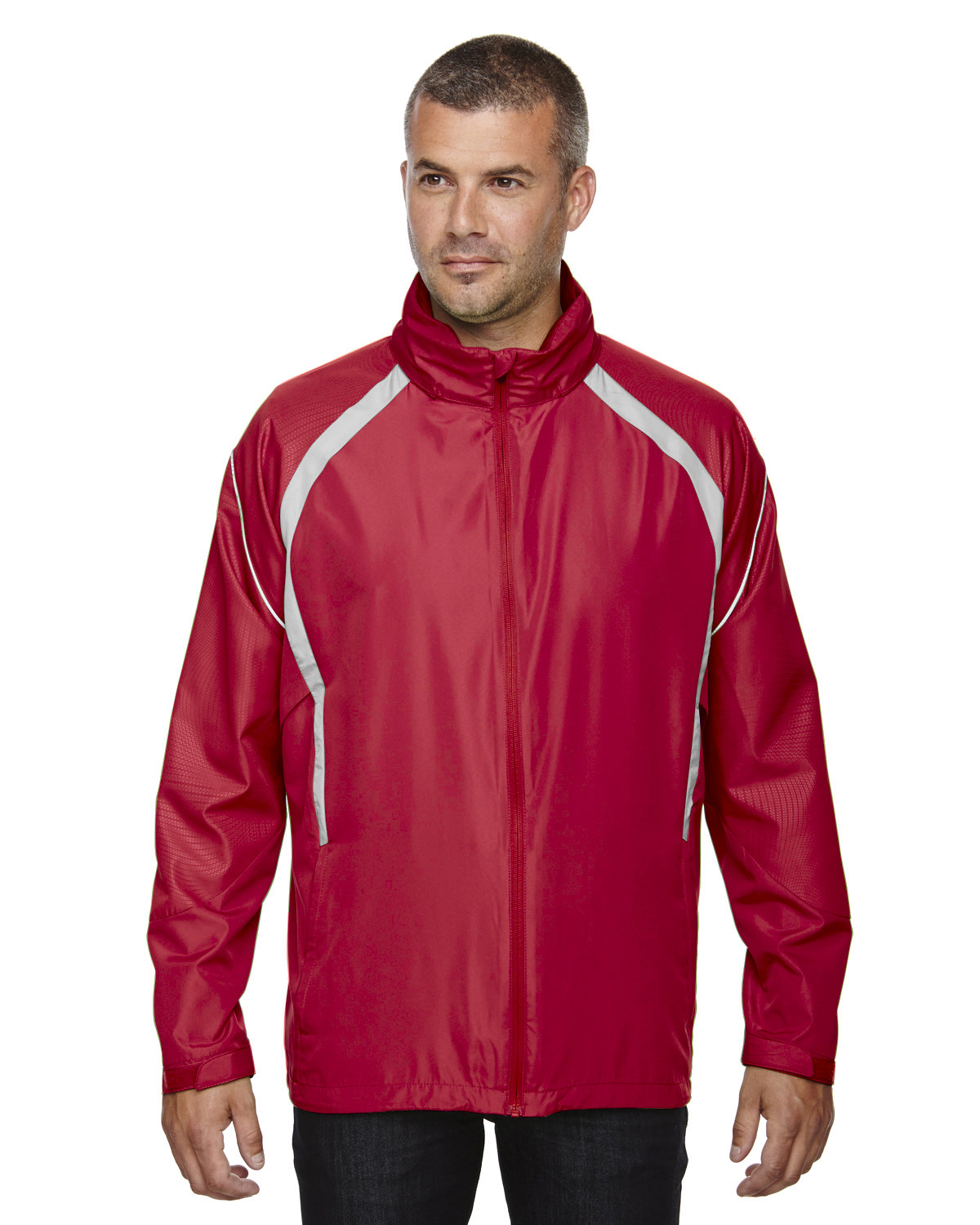 North End Men's Sirius Lightweight Jacket with Embossed Print OLYMPIC RED