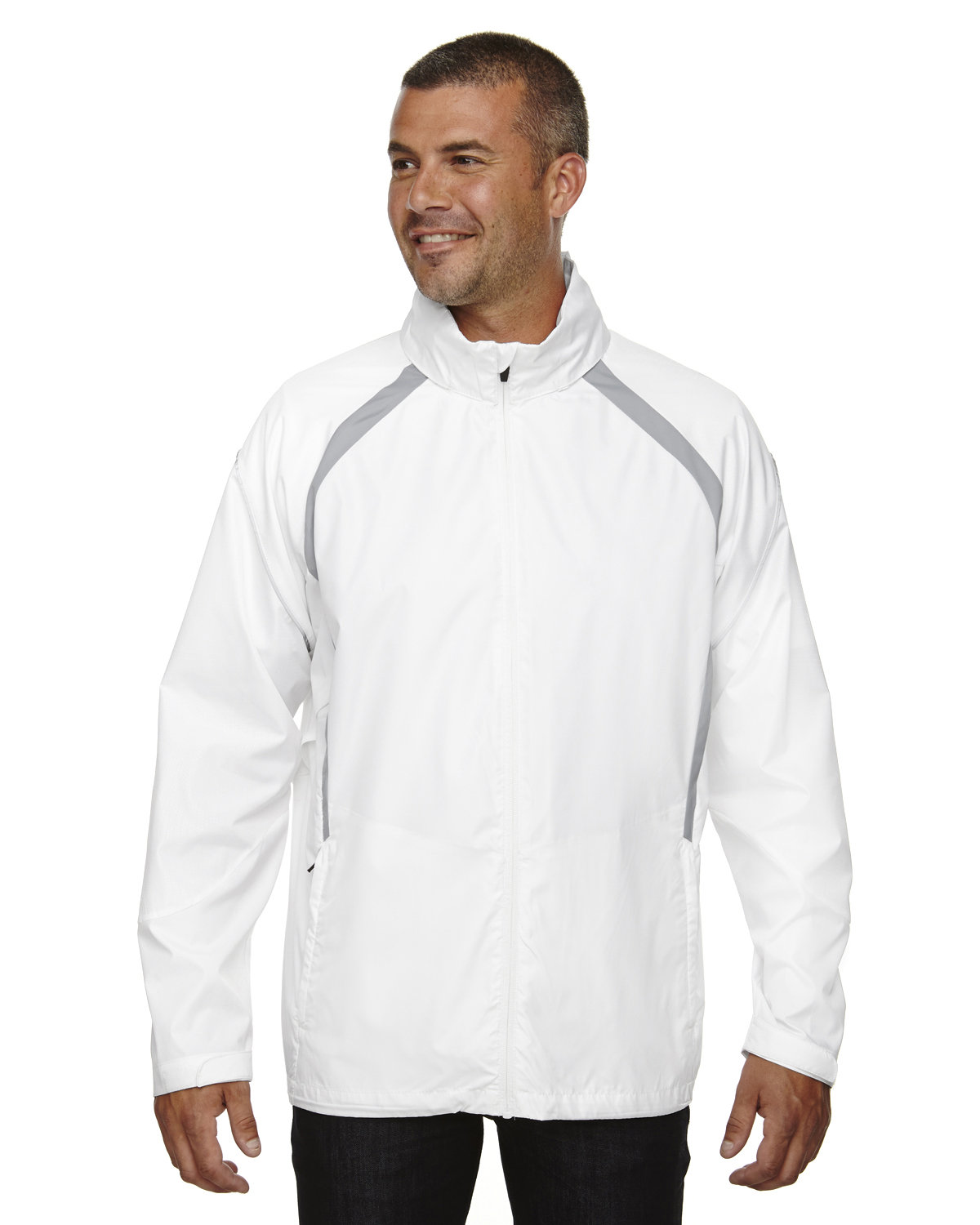 North End Men's Sirius Lightweight Jacket with Embossed Print WHITE