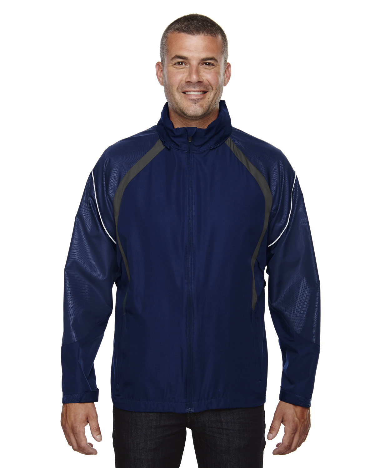 North End Men's Sirius Lightweight Jacket with Embossed Print NIGHT