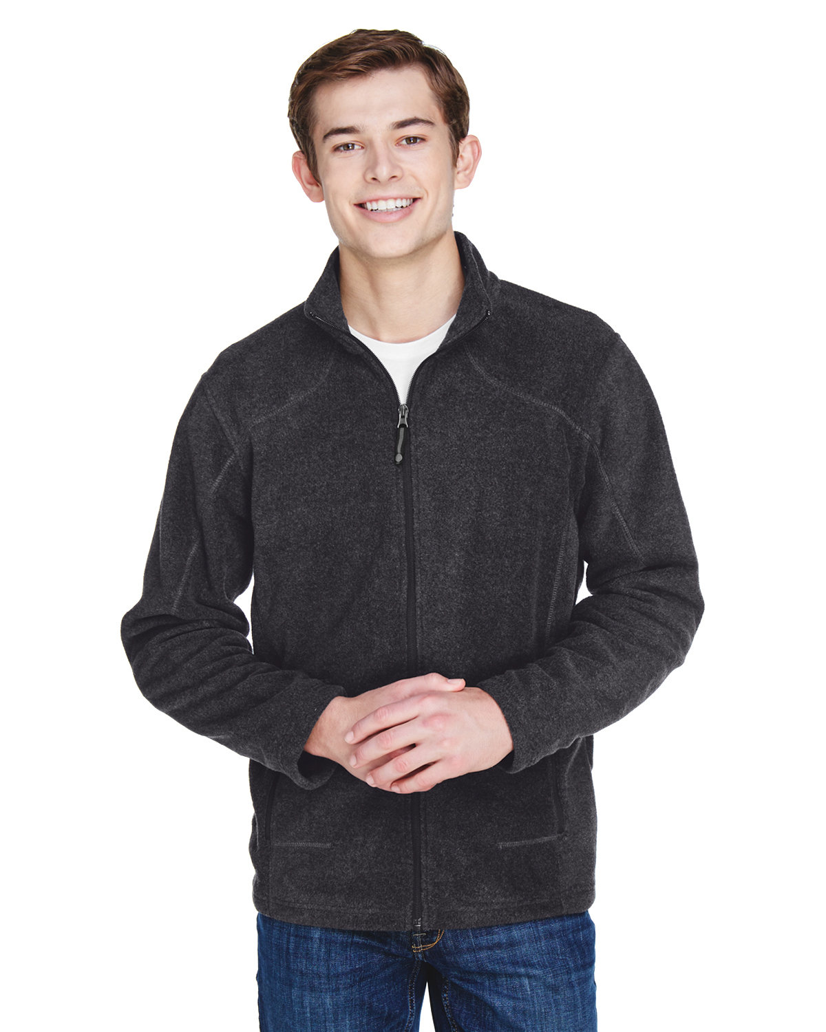 North End Men's Tall Voyage Fleece Jacket HEATHER CHARCOAL