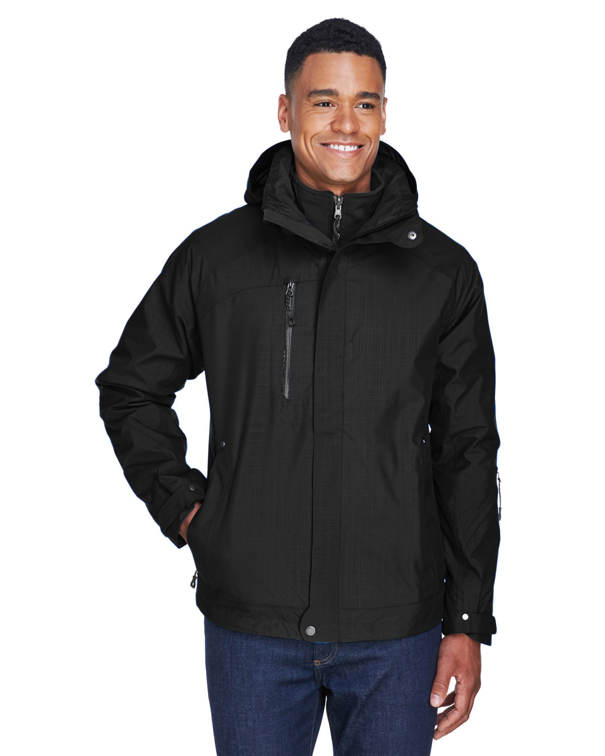 North End Men's Caprice 3-in-1 Jacket with Soft Shell Liner BLACK