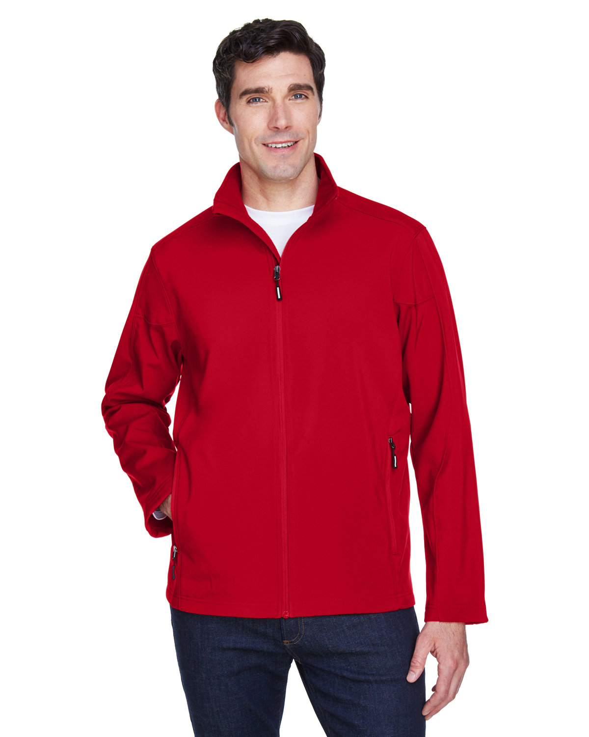 Core 365 Men's Cruise Two-Layer Fleece Bonded SoftShell Jacket CLASSIC RED