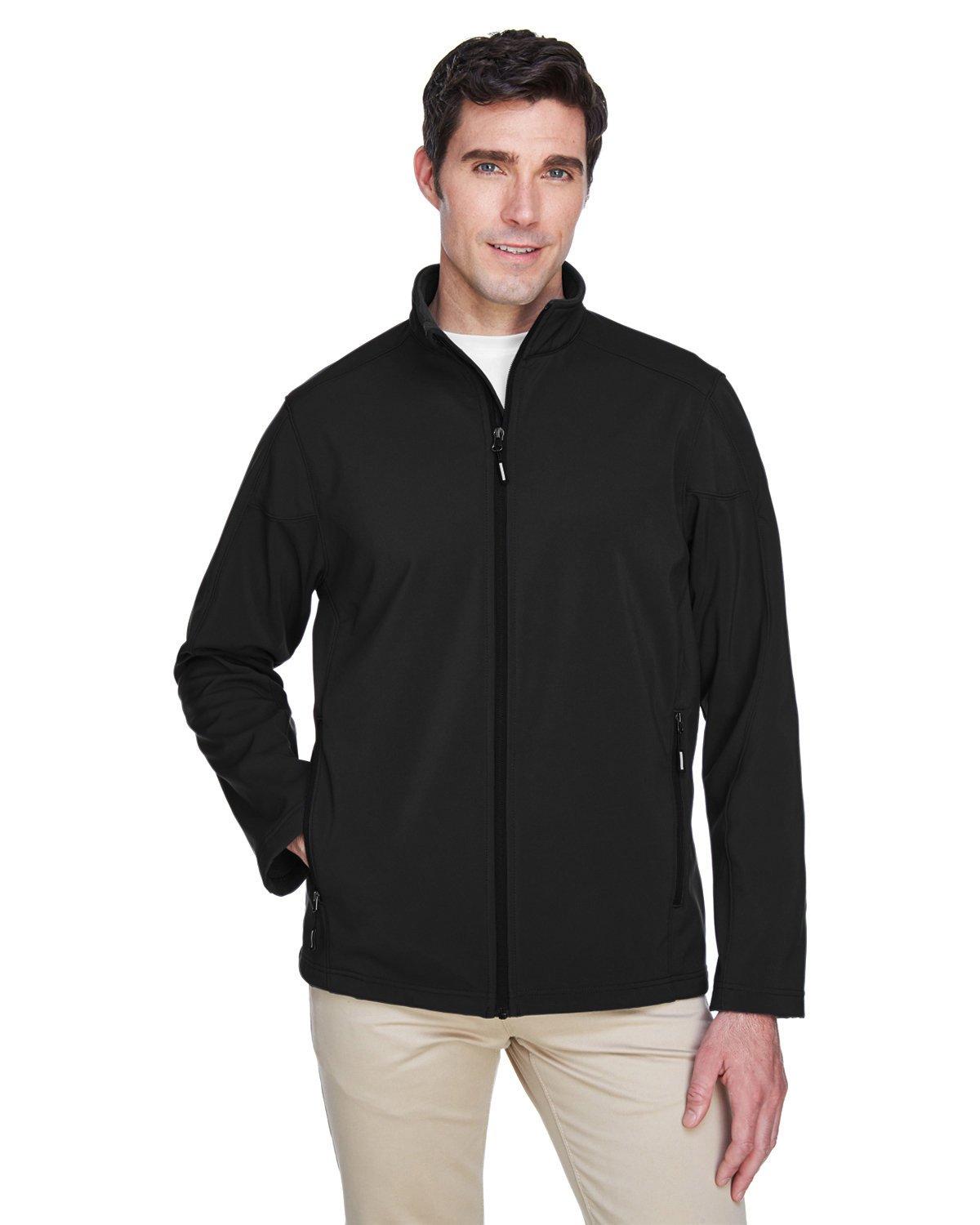 Core 365 Men's Tall Cruise Two-Layer Fleece Bonded SoftShell Jacket BLACK