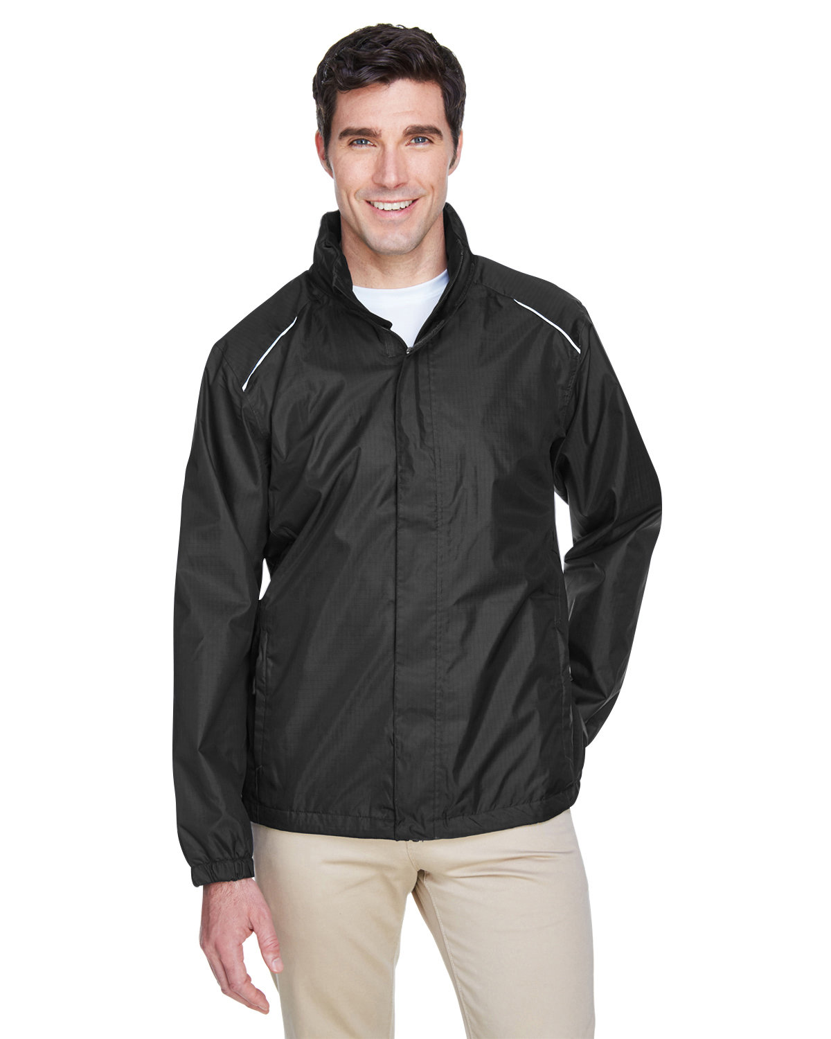 Core 365 Men's Climate Seam-Sealed Lightweight Variegated Ripstop Jacket BLACK