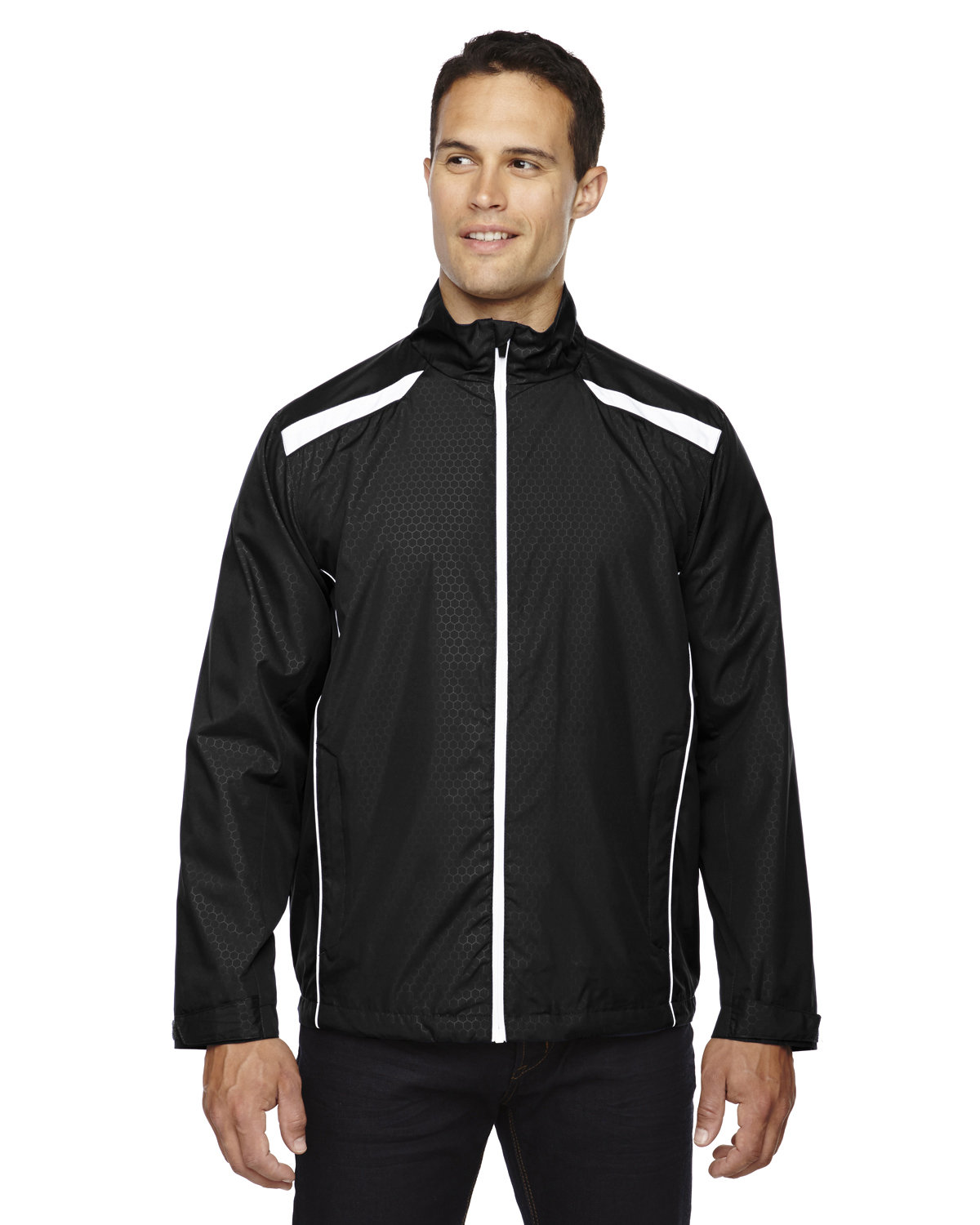 North End Men's Tempo Lightweight Recycled Polyester Jacket with Embossed Print BLACK