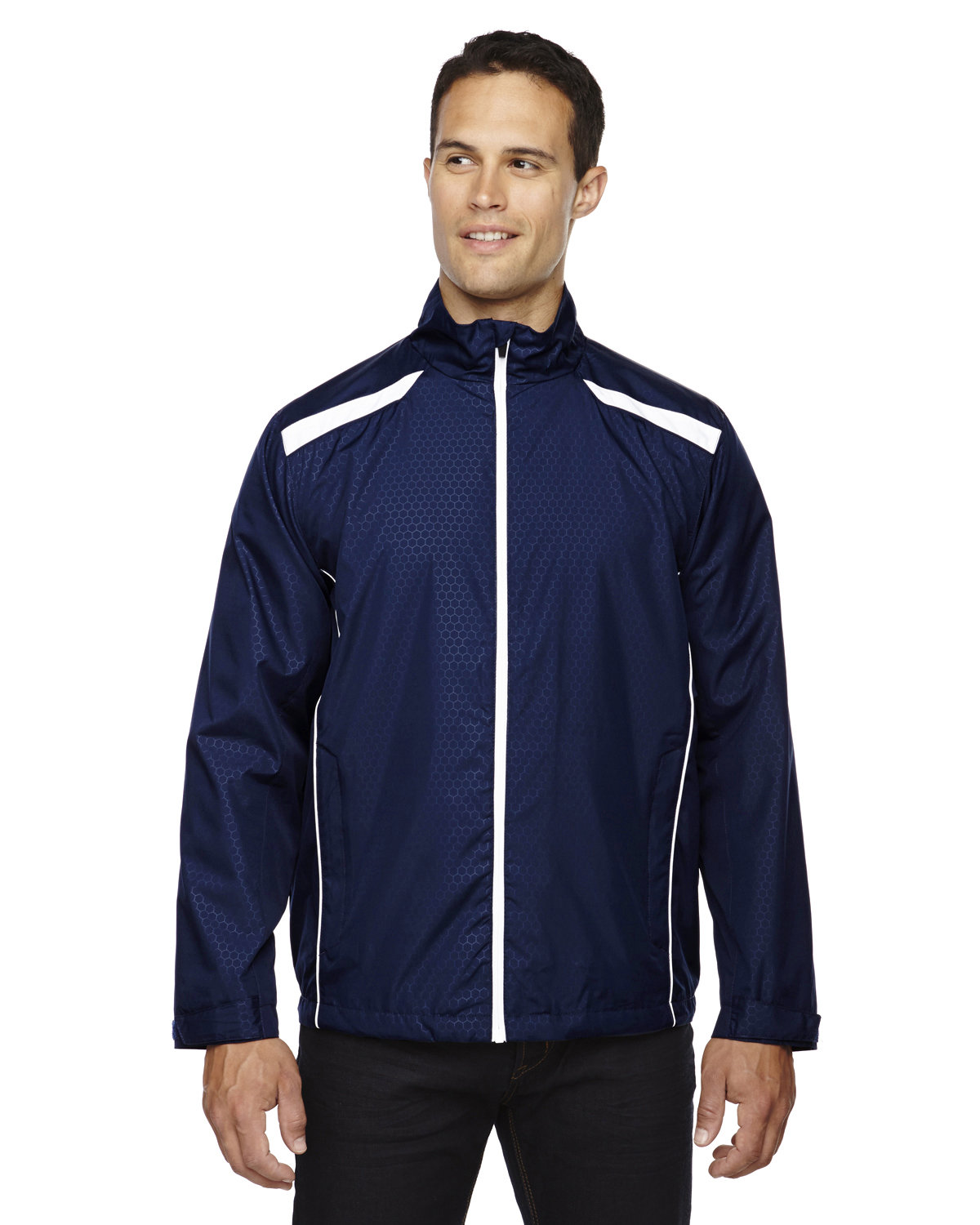 North End Men's Tempo Lightweight Recycled Polyester Jacket with Embossed Print CLASSIC NAVY