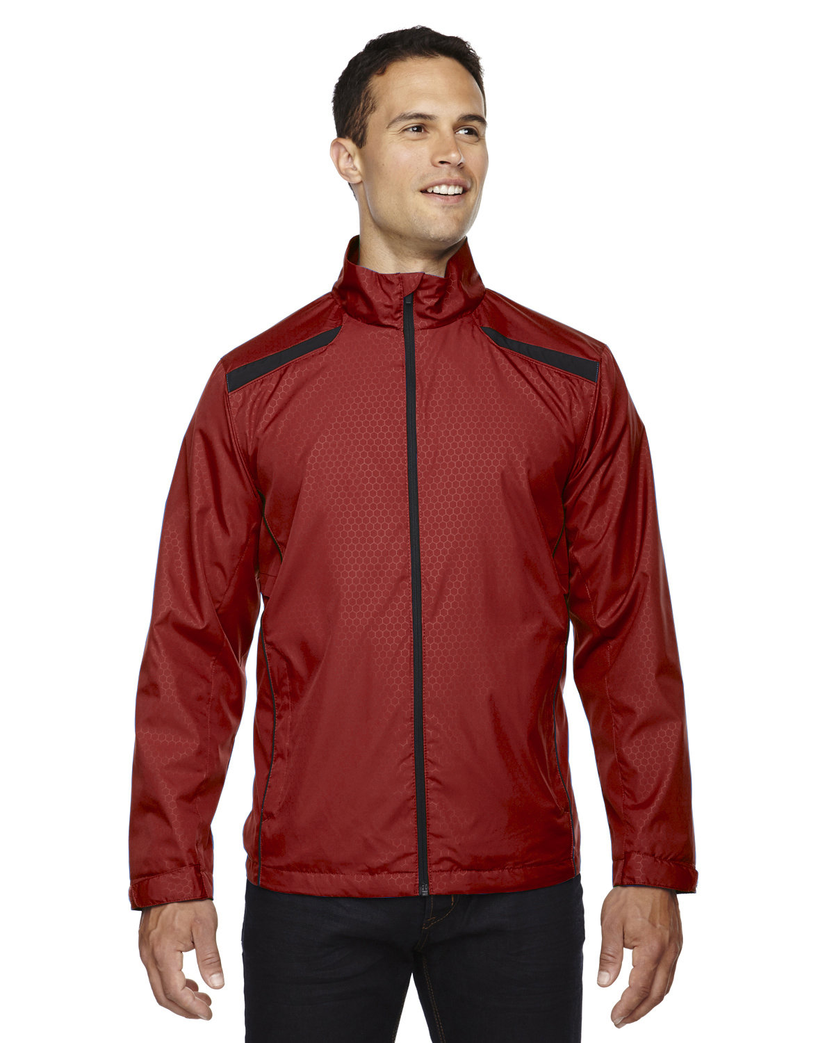 North End Men's Tempo Lightweight Recycled Polyester Jacket with Embossed Print CLASSIC RED