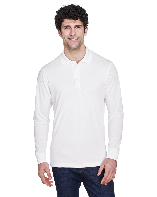 Core 365 Men's Pinnacle Performance Long-Sleeve Piqué Polo WHITE