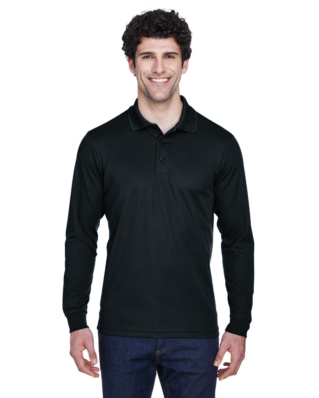 Core 365 Men's Pinnacle Performance Long-Sleeve Piqué Polo BLACK