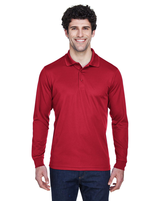 Core 365 Men's Pinnacle Performance Long-Sleeve Piqué Polo CLASSIC RED