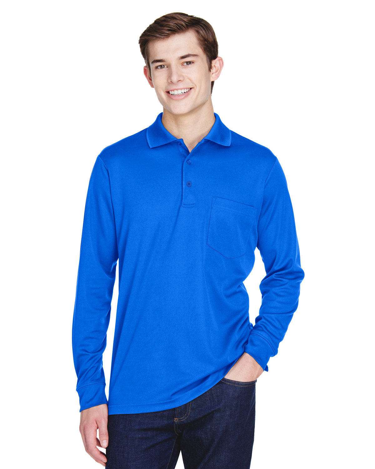 Core 365 Adult Pinnacle Performance Long-Sleeve Piqué Polo with Pocket TRUE ROYAL