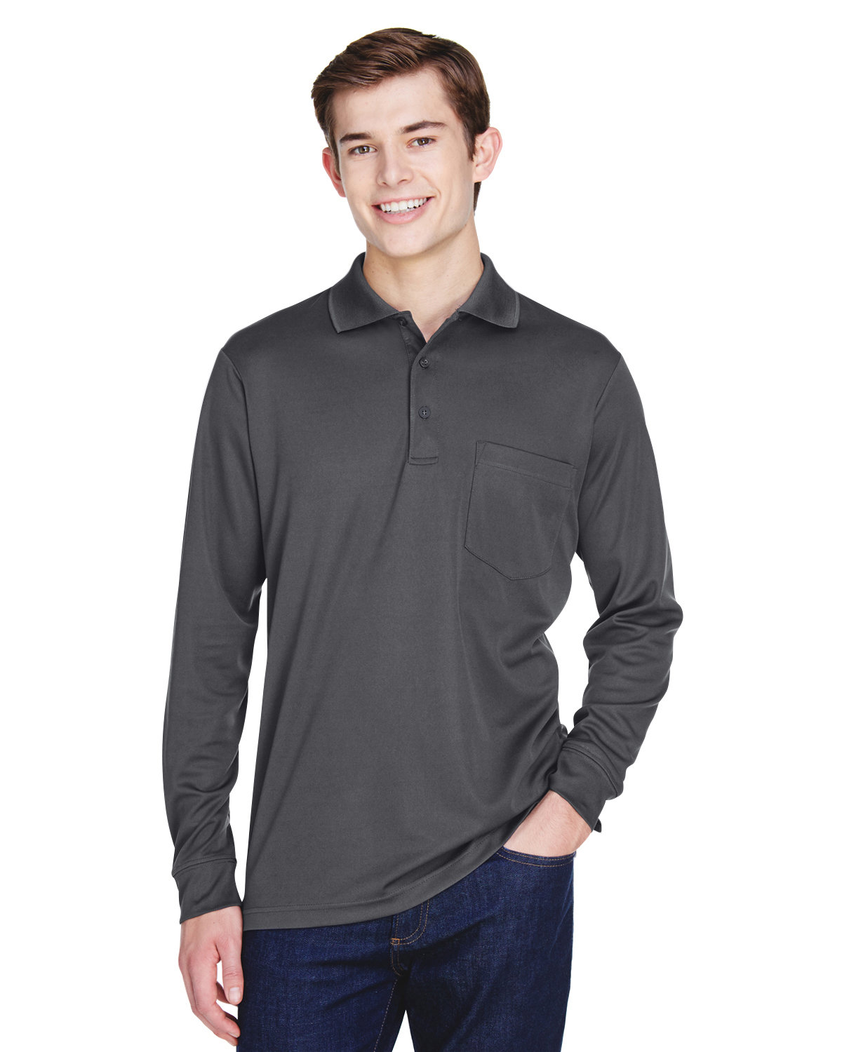 Core 365 Adult Pinnacle Performance Long-Sleeve Piqué Polo with Pocket CARBON
