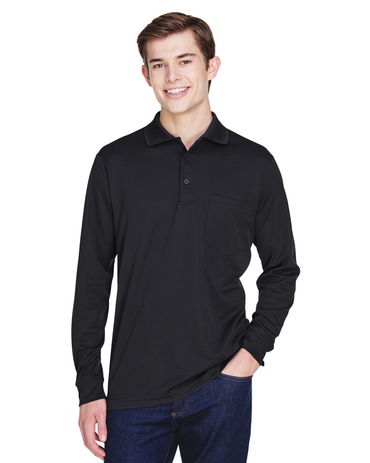 Core 365 Adult Pinnacle Performance Long-Sleeve Piqué Polo with Pocket BLACK
