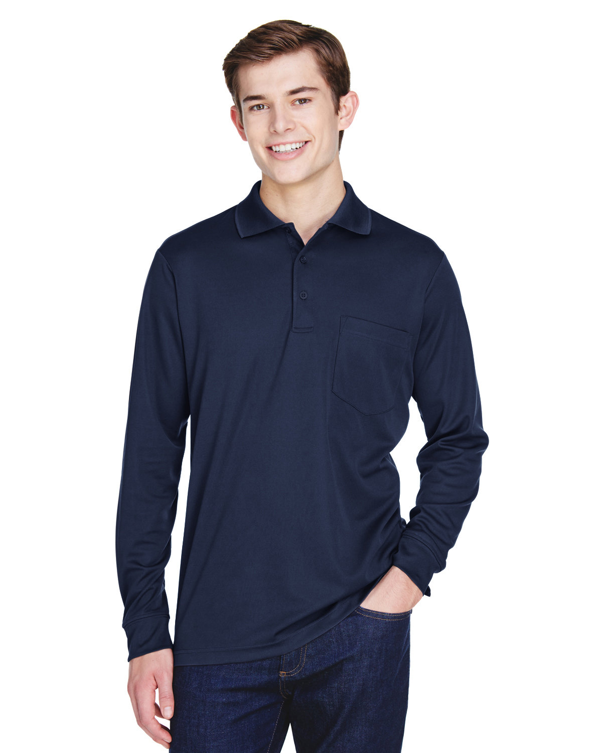 Core 365 Adult Pinnacle Performance Long-Sleeve Piqué Polo with Pocket CLASSIC NAVY